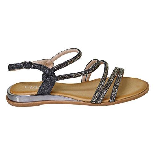 Ciara New Ladies Womens Summer Multi-Strap Diamante Flat Sandal Black m5wuoWum