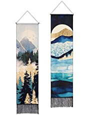 AWAYTR Long Mountain Tapestry Wall Hanging - 2PCS Forest Tree Sunset Starry Night Sky Nature Landscape Tapestries for Bedroom (Forest)