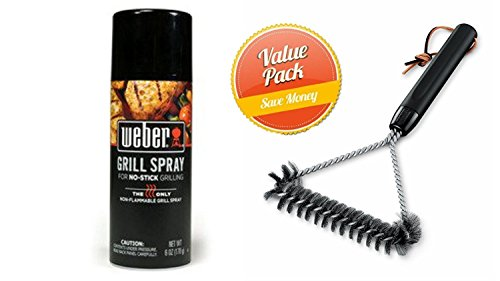Weber 6494 12-Inch 3-Sided Grill Brush With Grill'N Spray by Weber