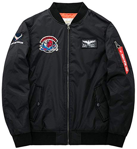Uomo Air Vintage Jacket Zip Con color Patch Per Vento 4xl A Stile Force Bomber Giacca schwarz 5 Leggera Da Classica Semplice Badge Flight Size wvEn7qOX