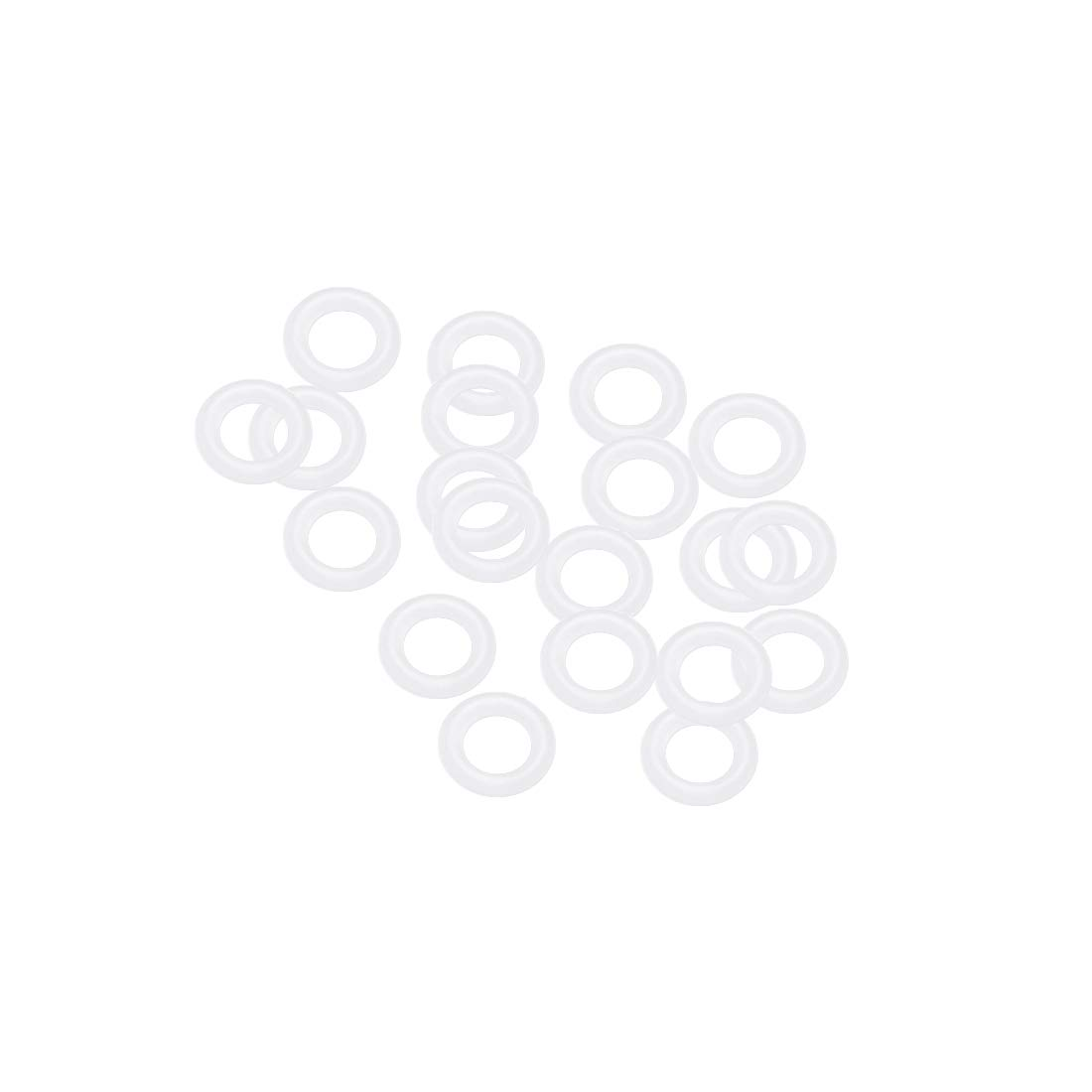uxcell Silicone O-Rings, 7mm OD 4mm ID 1.5mm Width VMQ Seal Gasket for Compressor Valves Pipe Repair, White, Pack of 20