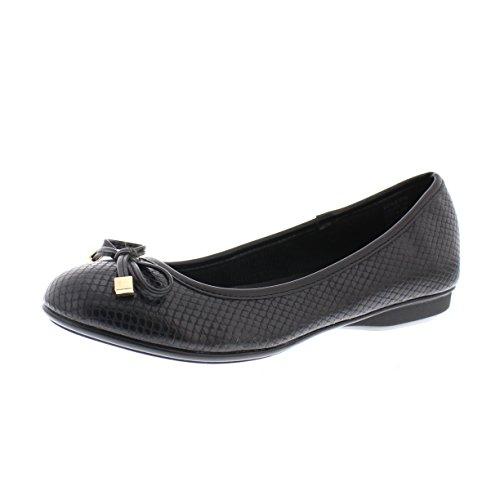 Gold Toe Malorie Womens Comfortable Memory Foam Ballet Flat Shoe,Work Comfort Dress Flats Low Wedge Pump for Women Black 6.5W US