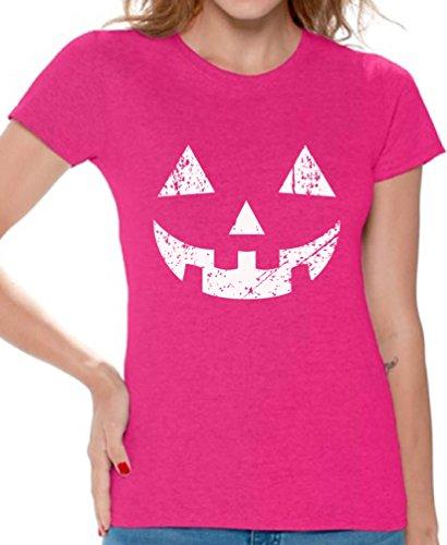 (Awkward Styles Women's Jack O' Halloween Pumpkin T Shirts Tee Tops for Women Halloween Easy Costume Idea Pink)