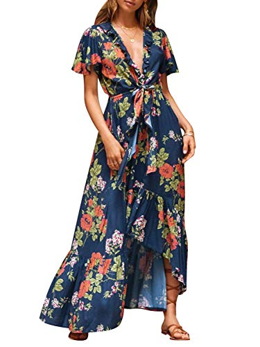 Miessial Women's Summer Deep V Neck Floral Split Maxi Dress Elegant Wrap Long Dress Dark Blue 10/12 ()
