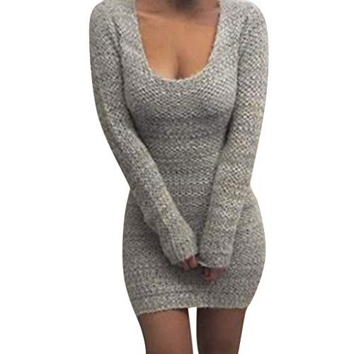 (LISTHA Sexy Bodycon Sweater Mini Dress Women Jumper Crewneck Knitted Dresses)