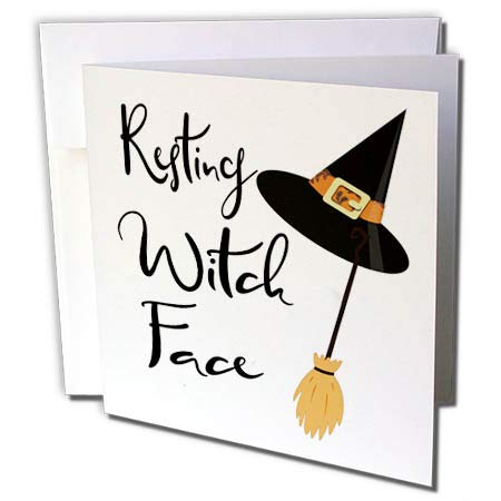 3dRose Anne Marie Baugh - Quotes, Sayings, and Typography - Resting Witch Face - Halloween Saying - 6 Greeting Cards with envelopes -
