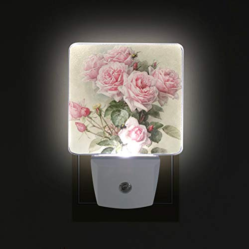 - ZOEO Rose Night Light Pink Floral Plug-in LED Night Lamp with Light Sensor Bathroom Toilet Bedroom Kitchen Wall Decorative Daylight White for Kids Childrens