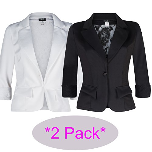 Women's 3/4 Sleeve Blazer with Sexy Lace back and Cuffs. Great Dressy Jacket (medium, 2-pack (Party City Canada Careers)