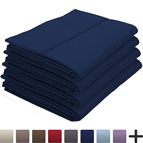 4 Pillowcases - Premium 1800 Ultra-Soft Collection - Bulk Pack - Double Brushed - Hypoallergenic - Wrinkle Resistant - Easy Care (King - 4 Pack, Dark Blue)