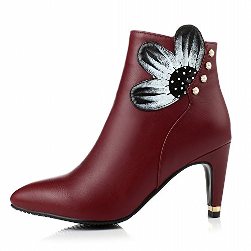 Latasa Womens Chic Foral Printed Studded Pointed-toe High-heel Ankle-high Dress Boots with Zipper claret-red 2YmNPfp