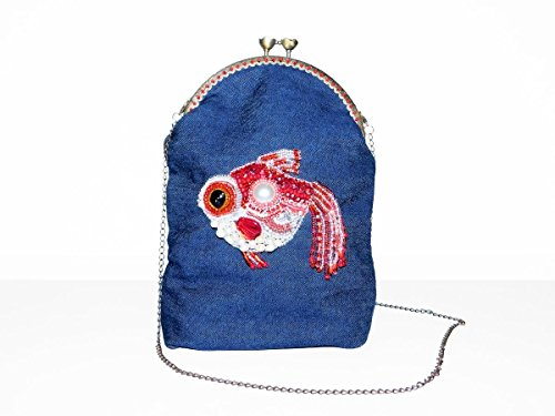 Denim Shoulder Bag on Chain Strap with Bead Embroidered Red White Fish with Kiss-Lock Clasp. Cute Teen Girl Cell Phone Handbag. Free shipping USA & Canada ()
