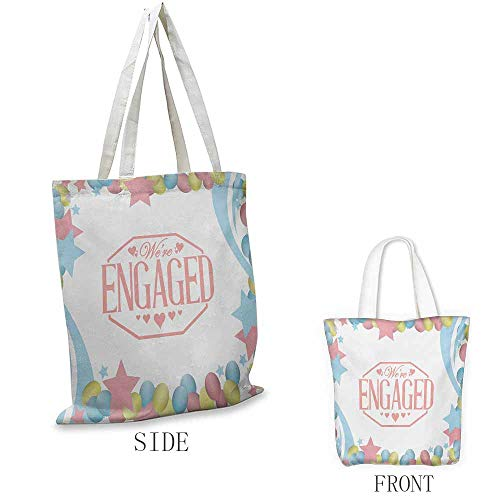 Engagement Party Shopping bag series We Are Engaged Celebration Balloons Stars Swirls Vintage Image Insulated shopping bag W15.75 x L17.71 Inch Pink Blue and Green