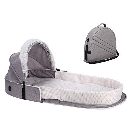 Caroeas Babycare Travel Bassinet, Portable Baby Travel Bed, Grey, Large