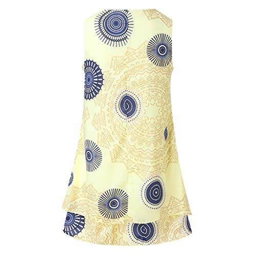 GLVSZ Fashion Color with Large Size Print Loose Sleeveless Vest Long Dress Yellow S