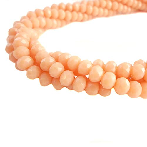 BeadsOne 8mm - 360 pcs - Glass Rondelle Faceted Beads Salmon Matte Orange for jewerly Making findings Handmade jewerly briolette Loose Beads Spacer Donut Faceted Top Quality 5040 (E069)