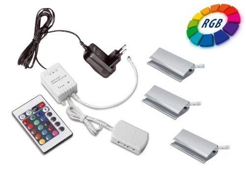 3er Set SO-TECH® RGB LED Farbwechsel Glasbodenbeleuchtung Glaskantenbeleuchtung Clip inkl. Multi-Funktion Fernbedienung