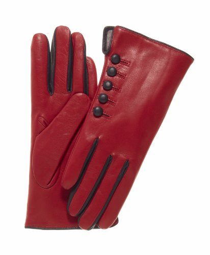 Fratelli Orsini Women's Italian Cashmere Lined Gloves with Buttons Size 7 1/2 Color Red/Black by Fratelli Orsini