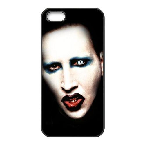 Marilyn Manson 004 2 coque iPhone 5 5S cellulaire cas coque de téléphone cas téléphone cellulaire noir couvercle EOKXLLNCD25789
