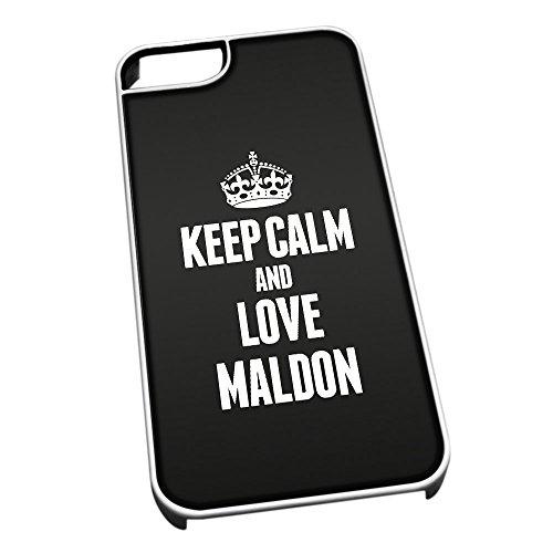 Bianco Cover per iPhone 5/5S 0412Nero Keep Calm And Love Maldon