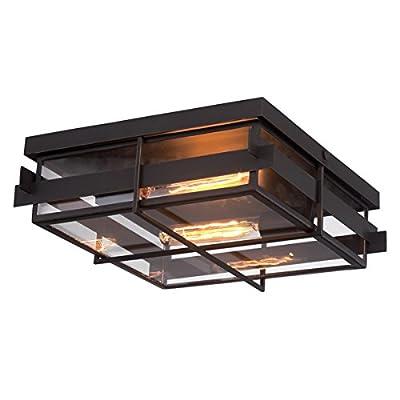 "Eurofase 28055-013 14"" Long Muller Paneled Framework Flushmount with Clear Glass Shade and 2 Edison Light Bulbs, Large, Weathered Bronze Metal"