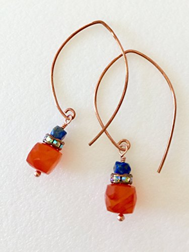 - Carnelian And Lapis Earrings, Gemstone Earrings, Orange And Blue, Hand Forged Hammered Copper Hoops, Autumn Earrings.