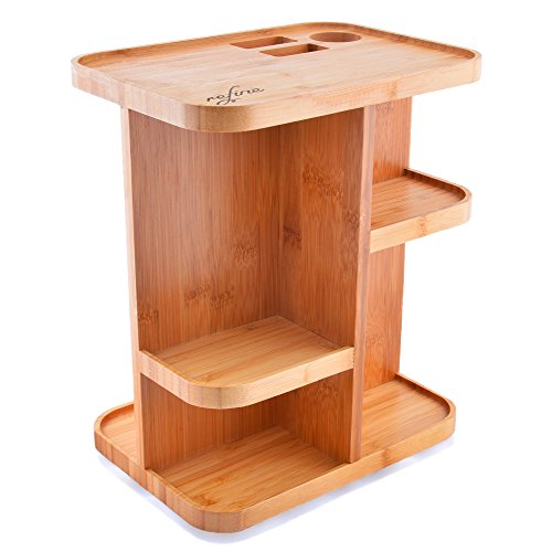 Refine 360 Bamboo Cosmetic Organizer, Multi-Function Storage Carousel for your vanity, bathroom, closet, kitchen, tabletop ,countertop and desk Storage Carousel
