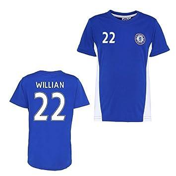 ... detailing 3561e 87ca7 UKSoccershop Official Chelsea Training T-Shirt  (Blue) (Willian 22 ... b2c91146f