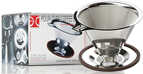 Professional Pour Over Coffee Brewer I Stainless Steel Coffee Dripper I Paperless, Fits Carafes, Cups and Mugs, Reusable Double Filter with Center Drip by The Elan Collective - 1-4 cups (End 4 Makers Coffee High)