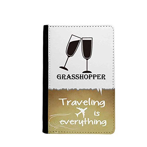 Silhouette Of Grass Hopper Cocktail Traveling quato Passport Holder Travel Wallet Cover Case Card Purse