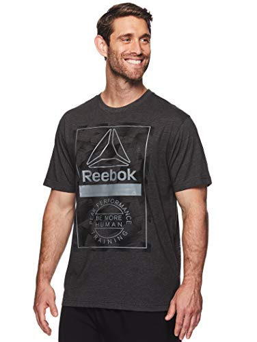 Reebok Men's Graphic Workout Tee - Short Sleeve Gym & Training Activewear T Shirt - Shards, Charcoal Heather, Small