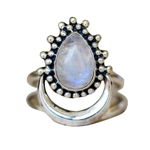 Kstare Women Boho Jewelry Silver Natural Gemstone Moon White Opal Personalized Ring (10#, (Moon Ring Jewelry)