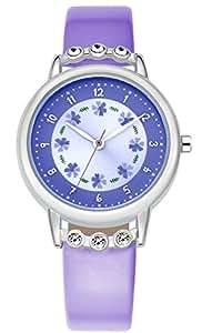 Kezzi Chica Relojes Cuarzo Morado Cuero Flor Moda para Ninas K1410