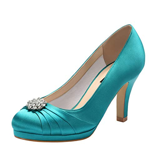 ERIJUNOR E0101 Women Comfort Mid Heel Pumps Closed-Toe Satin Wedding Evening Party Dress Shoes Teal Size8