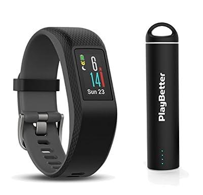 Garmin vivosport (Slate, Small/Medium) Bundle with PlayBetter Portable Power Bank (2200mAh)   On-Wrist Heart Rate, 24/7 Activity Tracker, Color Display   GPS Fitness Band