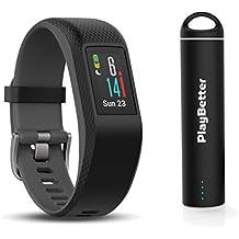 Garmin vivosport (Slate, Small/Medium) Bundle with PlayBetter Portable Power Bank (2200mAh) | On-Wrist Heart Rate, 24/7 Activity Tracker, Color Display | GPS Fitness Band