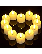 Electric Flickering Tea Lights with Timer, Ymenow Set of 12 Battery Operated LED Realistic Flameless Candles with Fake Candle Wicks for Home Room Party Festival Decor - Warm White