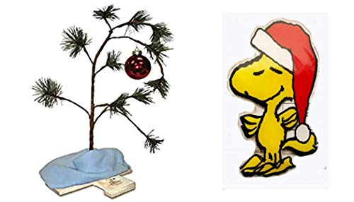 KJG's Treasure Chest Charlie Brown Christmas Tree (24 Inches) and Blanket (Non-Musical) with Peanuts Character Two-Side Window Cling (Woodstock) Charlie Brown Pathetic Christmas Tree