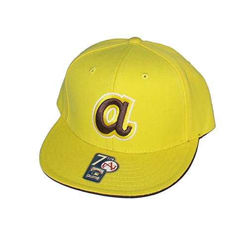 Atlanta Braves Fitted Size 7 1/4 Gold With Brown Logo Hat Cap - Cooperstown Collection