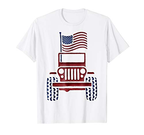 White T-shirt American Pride - Jeeps 4th of July American T-shirt USA Pride Flag Funny Gift