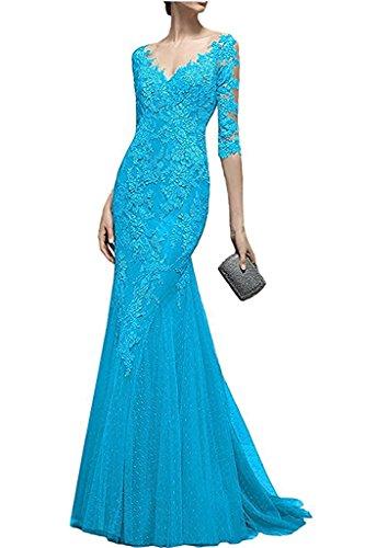La Trumpet Kleider Brautmutterkleider mia Braut Spitze Damen Meerjungfrau Etuikleider Formal Blau Lang Abendkleider Fuchsia ZwZ1Pqxr