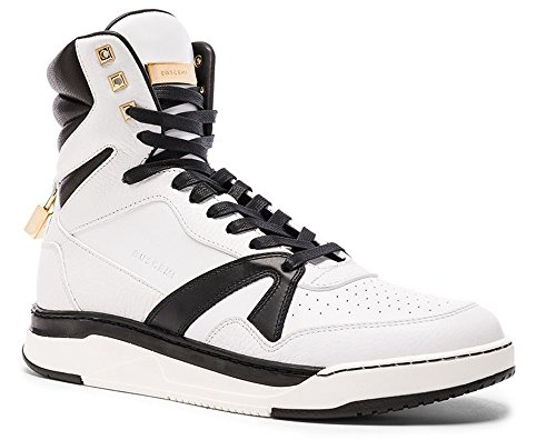 Buscemi 150MM Gold-Toned Padlock Calfskin High-Top Sneaker 9 US 42 EU