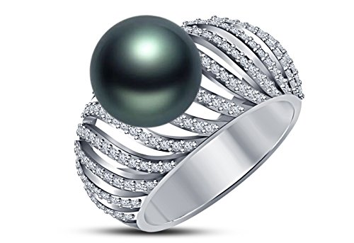 9 mm Tahitian Cultured Pearl and 0.4 carat total weight diamond accent Ring in 14KT White Gold