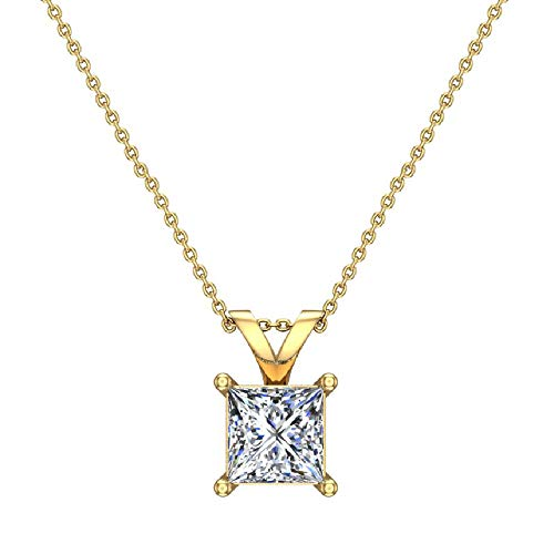 1/2 ct tw I1 G Natural Princess Cut Diamond Solitaire Pendant Necklace 14K Yellow -