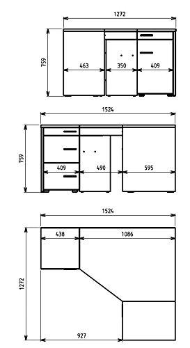 Jahnke cl 155 S Roble T.1 - 3 - Escritorio esquinero, E1 de Madera ...