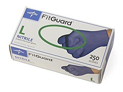 Medline FG2503H FitGuard Nitrile Exam Gloves, Large, Dark Blue (Box of 250)