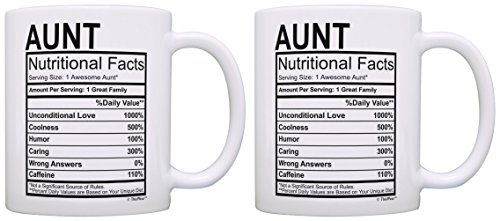 ThisWear Birthday Gifts for Aunt Nutritional Facts Label Gift Ideas for Aunt 2 Pack Gift Coffee Mugs Tea Cups White