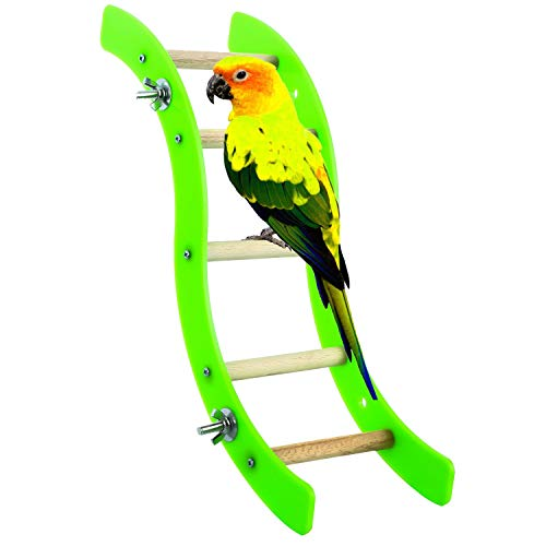 Litewood Pet Bird Hamster Acrylic Wave Ladder Stand Crawling Ladders Parrot Perch Toy for Small and Medium Animals Rabbit Chinchilla Macaw African Greys Cage Climbing Game Play Toys