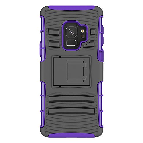 Price comparison product image Galaxy S9 Case, HLCT Rugged Shock-Proof Dual-Layer PC and Soft Silicone Case With Built-In Kickstand for Samsung Galaxy S9 (2018) (Purple)