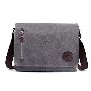 YXHM AU Men's Bag Canvas Bag Casual Shoulder Bag Messenger Bag (Color : Grey)