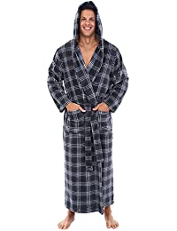 Mens Fleece Plaid Robe, Long Hooded Bathrobe